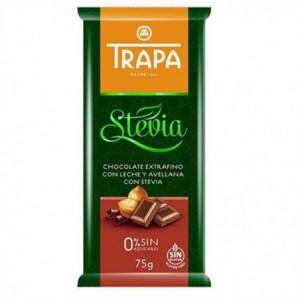 Mléčná čokoláda se stévií a lískovými ořechy - TRAPA 75g
