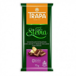 Mléčná čokoláda se stévií a pufovanou rýží - TRAPA 75g