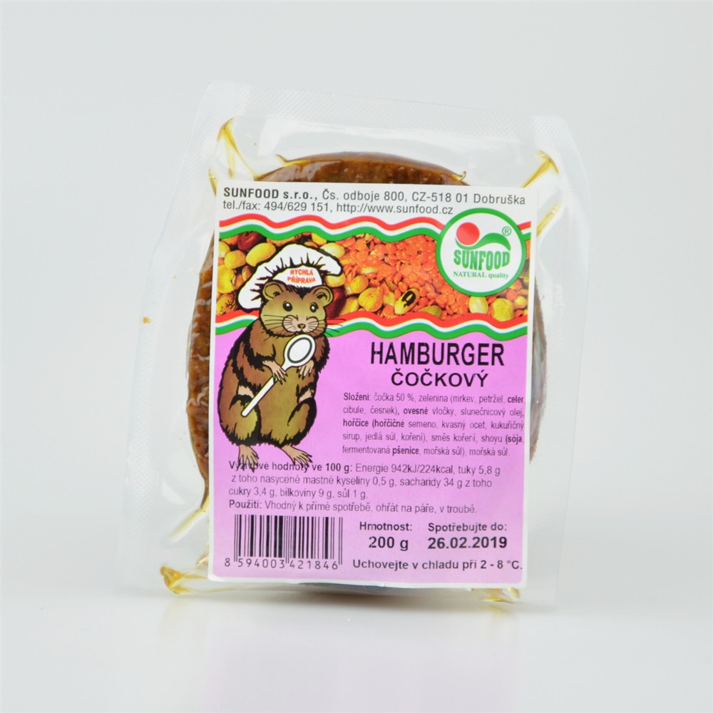 Hamburger čočkový - Sunfood 200g