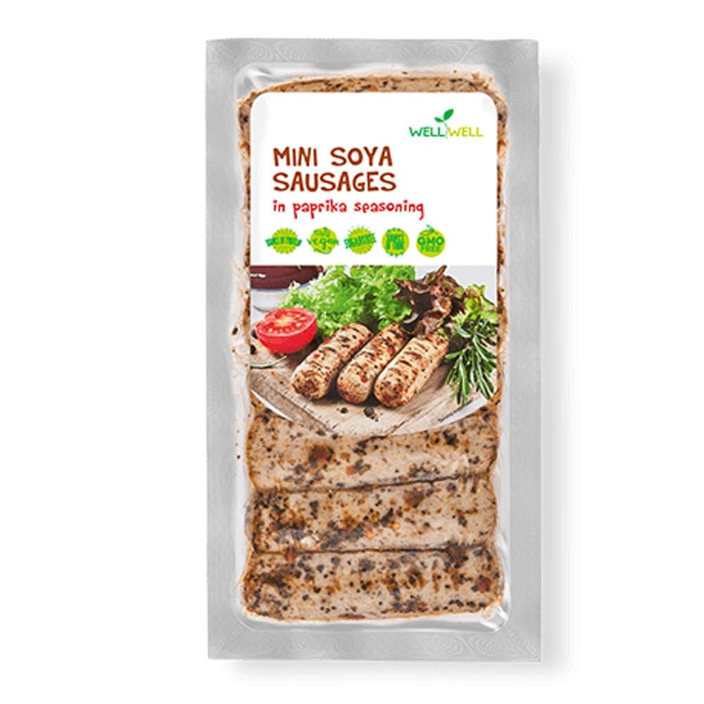MINI sójové bílé klobásky v paprikovém koření - WELLWELL 180g