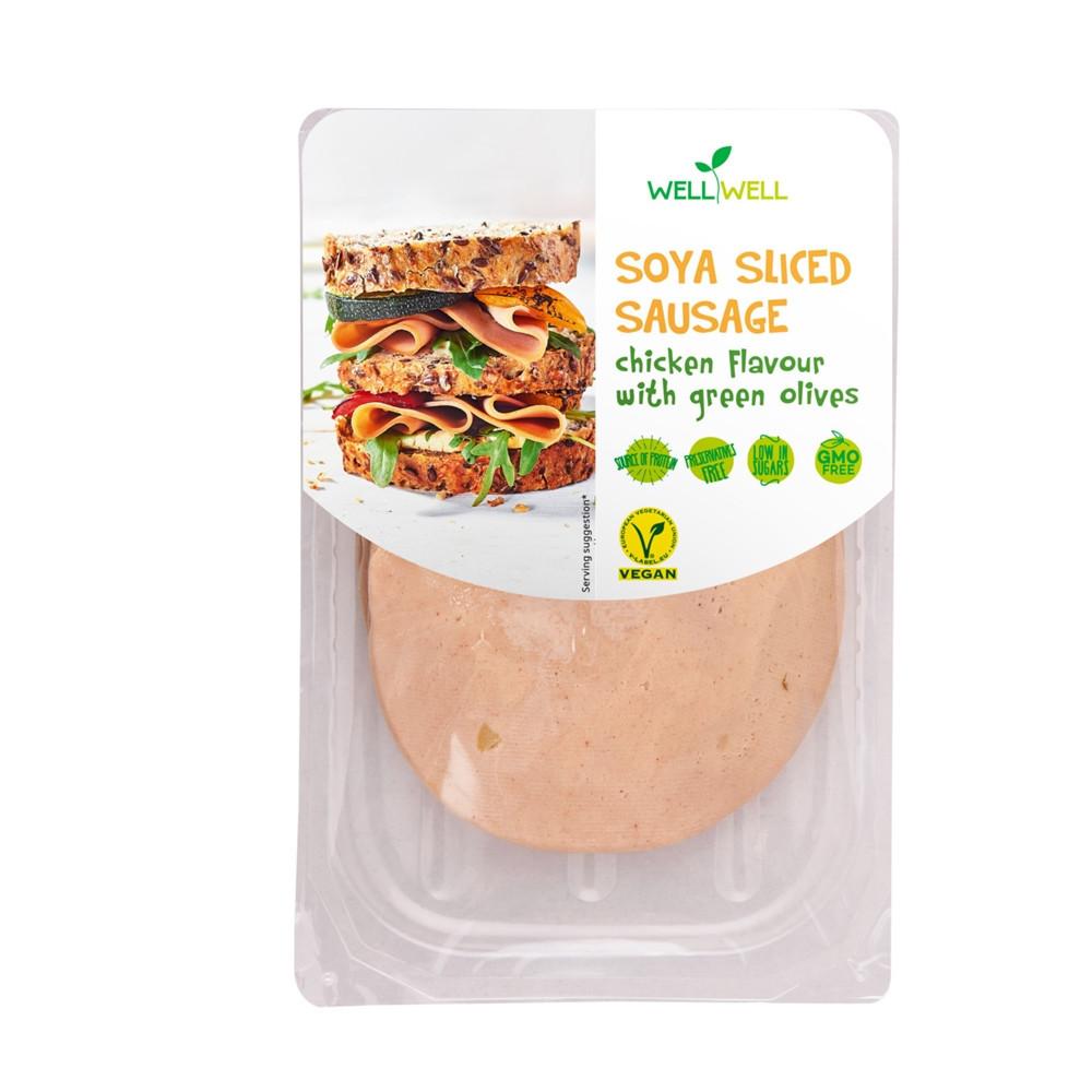 Sójová uzenina s příchutí kuřete s olivami - WELLWELL 100G