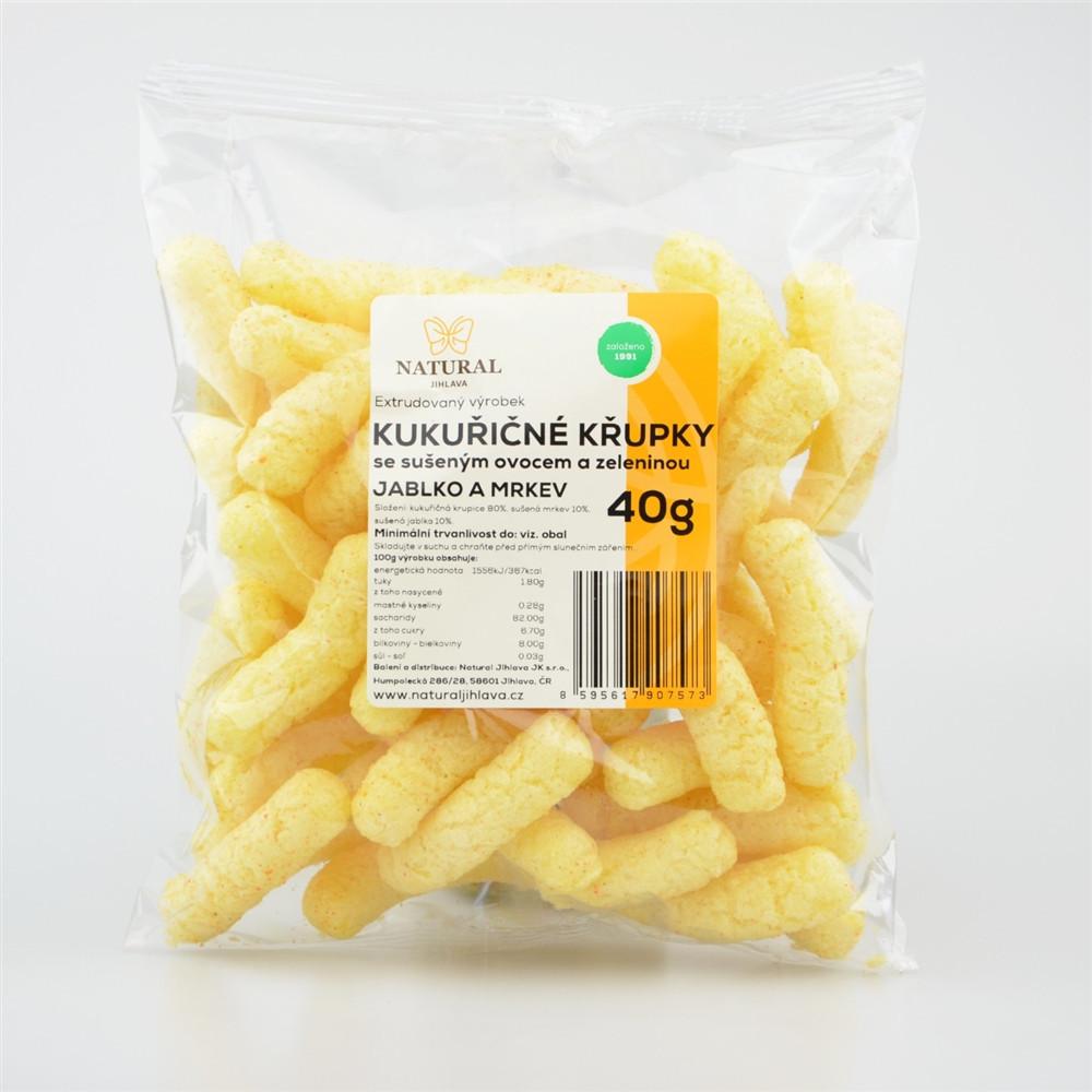 Křupky kukuřičné jablko a mrkev - Natural 40g