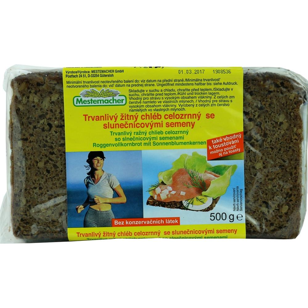 Mestemacher - trvanlivý žitný chléb celozrnný se slunečnicovými semeny 500g